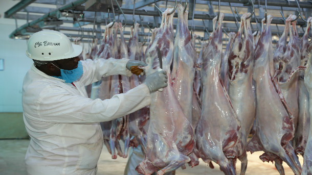 Meat processing at Neema Livestock and Slaughtering Investment Company Ltd, Nairobi. Wajir and Mandera Counties visited the abattoir to lean on livestock processing and look for opportunities to supply live animals to the abattoir