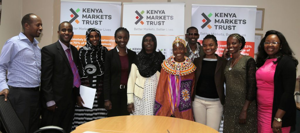 KMT Team and the officials from Tosha Women Group from Marsabit, during the signing of a partnership for KMT to support the women traders in aggregation of livestock to access terminal markets