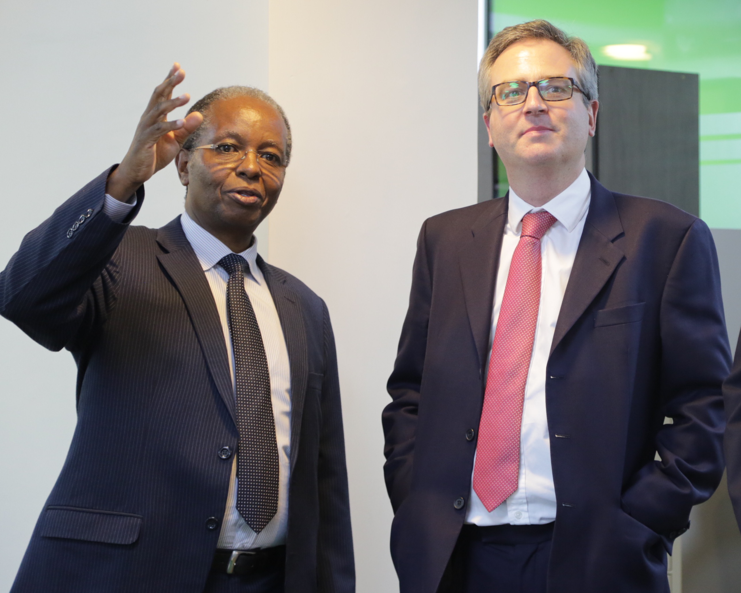 KMT CEO Kamau Kuria and UK Ambassador to Kenya Nic Hailey when he paid a courtesy call at the company Headquarters at 14 Riverside. The Ambassador hailed KMT work, pointing out that KMT was close to his heart