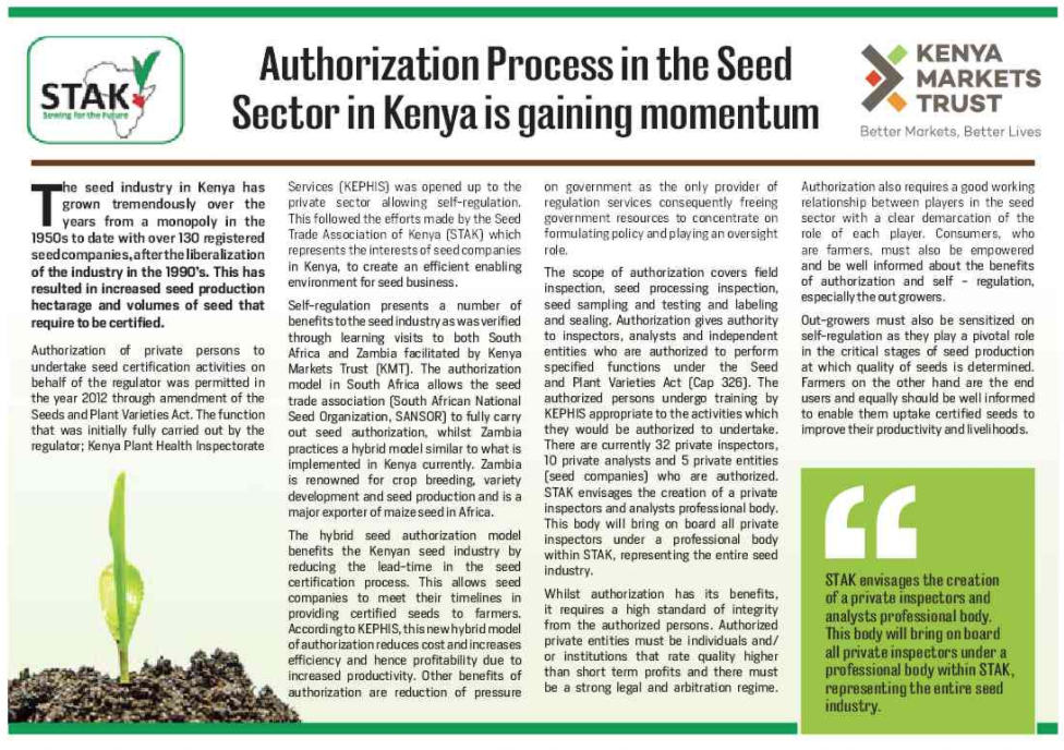 Screenshot of the news article in the Saturday Nation on the authorisation process of seed in Kenya